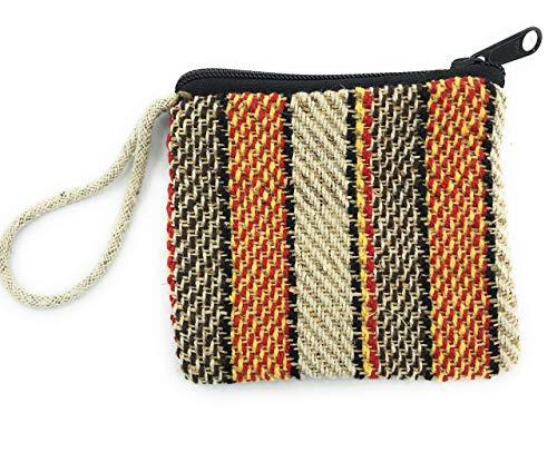 Earth Divas, Zip Coin Purse, Zipper Hemp Bag, Multi-Color, Small Keychain Bag