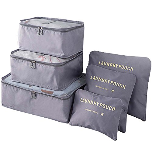 Clothes Travel Luggage Organizer Pouch (Grey) Set of 6 - 5