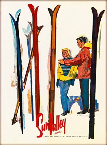 A SLICE IN TIME Sun Valley Ketchum Idaho Skis Skiing Union Pacific Railroad Vintage Railway United States of America Travel Advertisement Art Poster Print. Measures 10 x 13.5 inches