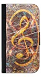 Treble Clef-Graffiti Wall Art-Iphone 5 Wallet Case with Closing Flip Cover and Credit Card Slots - Compatible with the Iphone 5 and 5S