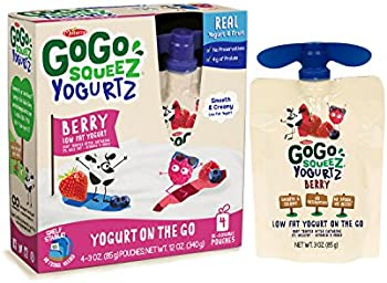 GoGo squeeZ YogurtZ 3-Ounce Portable BPA-Free Pouches 4-Count