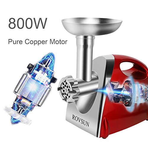 ROVSUN Electric Meat Grinder, 800W Stainless Steel Mincer Sausage Stuffer, Heavy Duty Food Processor with 4 Grinding Plates - 3 Sausage Tubes - 2 Blades - Kubbe Attachment & Brush, ETL Approved by ROVSUN (Image #3)