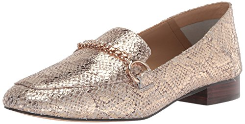 Metallic Embossed Leather (The Fix Women's Darien Chain Detail Collapsible Loafer Flat, Gold/Metallic Snake Embossed Leather, 8.5 B US)