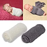 Outgeek Newborn Baby Photography Props 2 Pcs Long Ripple Wrap Newborn Props Baby Photo Props DIY Newborn Photography Wrap (White and Drak Grey)