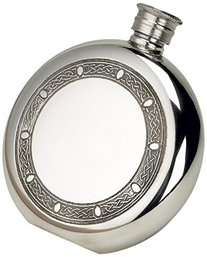 Leather Round Flask - Budd Leather Pewter Celtic Frame Round Flask, 6-Ounce, Silver