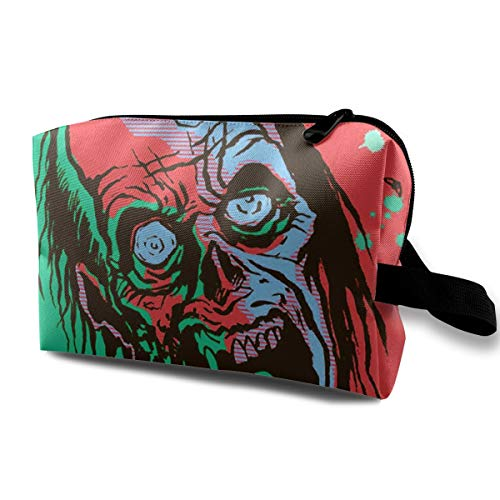 Halloween Zombie Bloody Scary Multi-function Travel Makeup Toiletry Coin Bag Case -