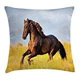 48 Inch Square Ottoman Animal Decor Throw Pillow Cushion Cover, Friesian Horse with Mane Gallops in Meadow Mystery Vitality Horse Theme, Decorative Square Accent Pillow Case, 18 X 18 Inches, Yellow Brown Blue