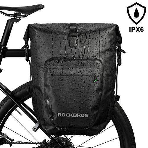 ROCK BROS 27L Bike Pannier Bag Waterproof Bicycle Rear Rack Bag for Cycling Travel Bag with Single Shoulder Strap (1 Black Pack)