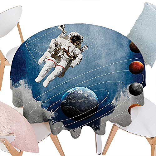 Cheery-Home Durable Polyeste TableclothOuter Space Decor Planetary Circles Geometric Figures Neptune Astral Rocket Vintage Print Multi. Suitable All Occasions,(57