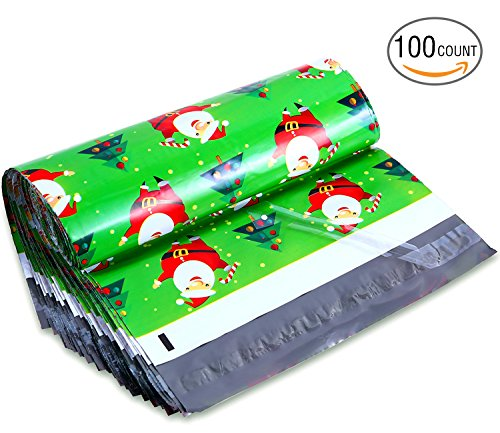 Ohuhu 10x13 100-Pack Santa Claus Designer Poly Mailers Christmas Shipping Envelope Bags Christmas Gifts Boutique Custom Bags with Self Adhesive Strip, Water Resistant