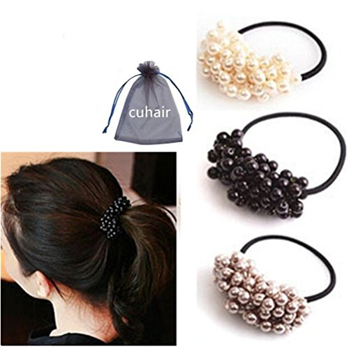 Cuhair(tm)2015 Girl Women Hair Accessories Elastic Ties 3pcs(1pcs Black,1pcs Gray,1pcs White) Plastic Hair Rope Fashion Hair Headband Ponytail Holders Hair Tie Assorted Hair Accessories (Holder Tail 22)
