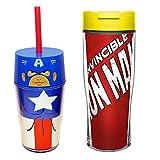 Marvel Iron Man & Captain America Double Walled Icon Tumbler, 14 oz