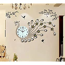 NEOTEND 3D Wall Clock Peacock 39pcs Diamonds Decorative Clock Diameter 32.3
