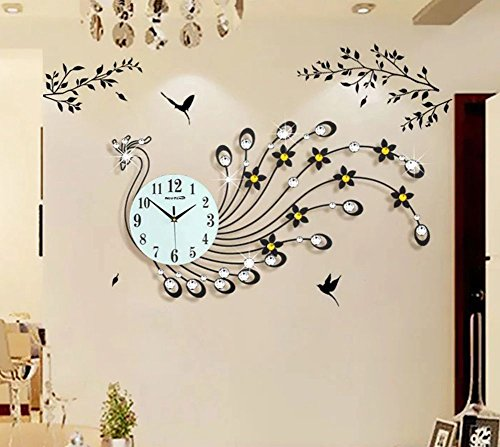 NEOTEND 3D Wall Clock Peacock 39pcs Diamonds Decorative Clock Diameter 32.3
