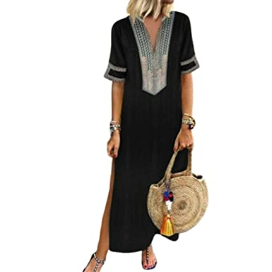 1a89955aa4 Women's Bohemian Floral Print Split Cotton Linen Maxi Dress Deep V Neck  Long Sleeve Casual Party