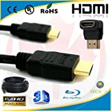 yoga_Style 30ft High Speed 1.4V HDMI Cable + 90 Degree Right Angle Adapter for Ethernet,3D,Audio Return