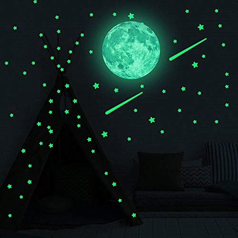 500 PCS Glow in The Dark Stars Wall Stickers Dark Stars and Full Moon for Ceiling or Wall Stickers Shining Decoration,Glowing Wall Decals Stickers for Kids,Girls Boys Room Decorations for Bedroom