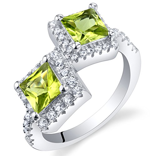 Forever Us Two Stone Peridot Sterling Silver Princess Cut Ring Size 7