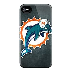 High Grade MeSusges Flexible Tpu Case For Iphone 4/4s - Miami Dolphins 6