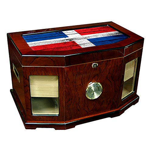 p Humidor - Glass Top - Flag of Dominican Republic - Wood Design - 300 Cigar Capacity - Cedar Lined with Two humidifiers & Large Front Mounted Hygrometer. ()