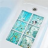 AmazingWall The Underwater World Tub Bathtub Safety Bath Treads Sticker No Slip Peel and Stick 5.9x5.9'' 6pcs/set