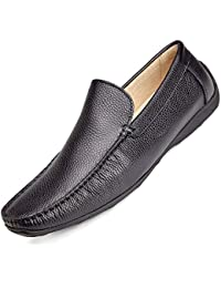 Boys Slip On Loafers -Dress and Casual Moccasins -Genuine Leather, Rubber Sole Black
