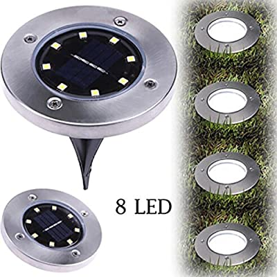 Wenjuan 8 LED Solar Power Buried Light Ground Lamp Outdoor Path Way Garden Decking