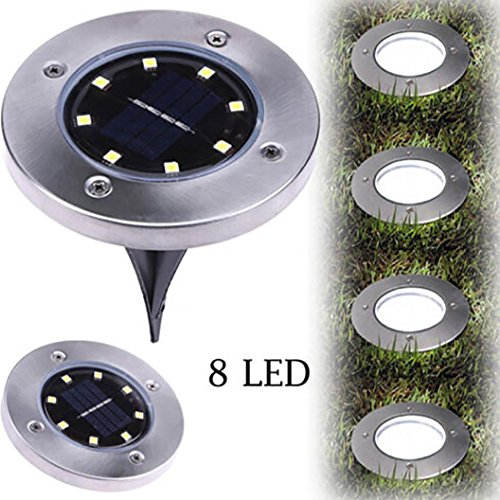 Wenjuan 8 LED Solar Power Buried Light Ground Lamp Outdoor Path Way Garden Decking (Ground Mount Path Light)