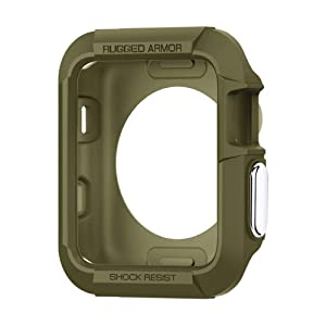 Spigen Rugged Armor Designed for Apple Watch Case for 38mm Series 3/Series 2/1/Original (2015) - Olive Green
