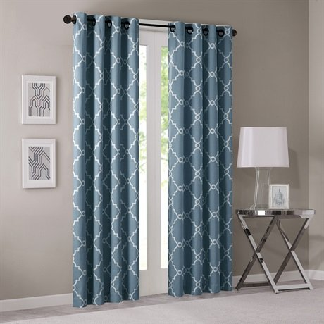 picture of Madison Park Saratoga Fretwork Print Window Curtain Blue 95 Panel