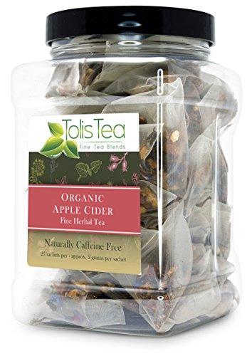Tolis Tea Organic Apple Cider Tea, - Premium whole leaf pyramid tea sachet bags - Fine Herbal Tea Made with Green Tea and Rooibos, Naturally Caffeine Free, 25 Silk Sachets