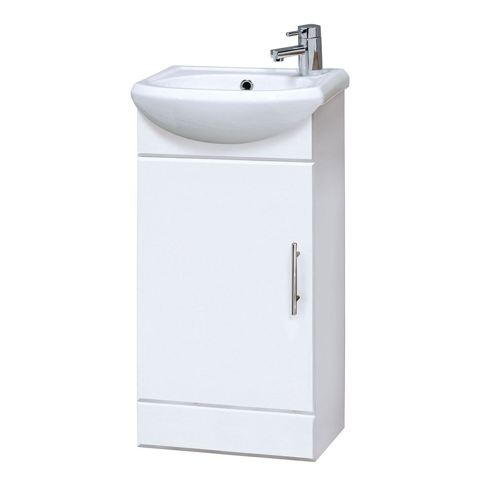 Premier NVS100400mm High Gloss Mayford Compact mobile da bagno e lavandino–bianco