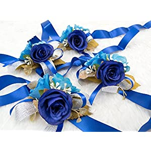 Gorgeous wrist corsage flowers for Wedding Bridal Bridesmaid Ceremony (Pack of 4)(Navy blue Theme) 45