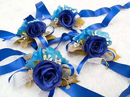 Gorgeous wrist corsage flowers for Wedding Bridal Bridesmaid Ceremony (Pack of 4)(Navy blue Theme) from Secret Garden