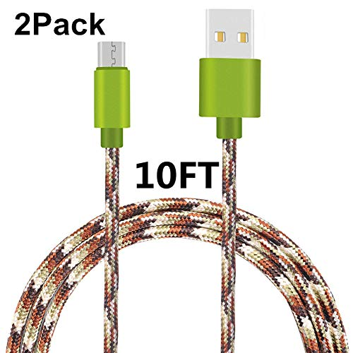 Micro USB Cable, Asstar [2 Pack] 10FT Extra Long Premium Nylon Braided High Speed USB to Micro USB Charging Cord Android Charger for Samsung Galaxy S7 / S6 / S5 - Defender Gloves Blade