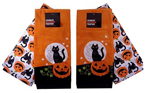 Halloween Black Cat & Pumpkin Kitchen Towels, Two