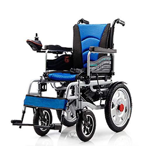 Sillas de Ruedas Electricas Ligero Plegable, Rango de Hasta 15 Millas, 2 Motor Potente, Seguro y Facil de Conducir,Blue