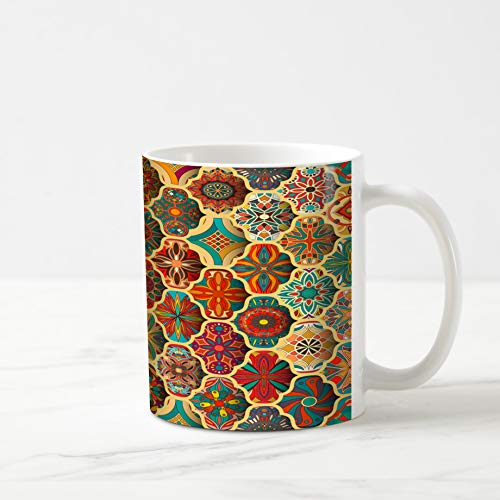 (Ahawoso Coffee Tea Mug 11 Ounces Motif African Pattern Vintage Abstract Sun Batik Bohemian Carpet Eastern Ethnic Lace 11Oz Ceramic Tea Cups Gift Great Boss Coworker Friend)