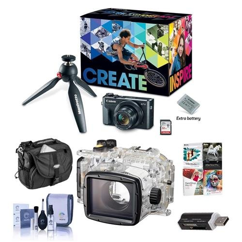 Canon Video Housing - Canon PowerShot G7 X Mark II Video Creator Kit - Bundle WP-DC55 Waterproof Case - Camera Case, Cleaning Kit, Card Reader, Software Package