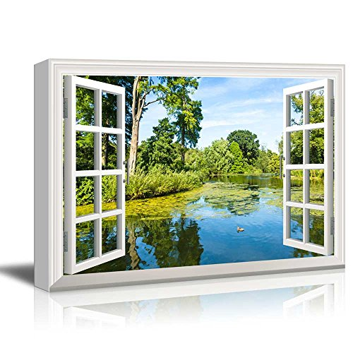 Creative Window View Lush Green Woodland Park Reflecting in Tranquil Pond in Sunshine