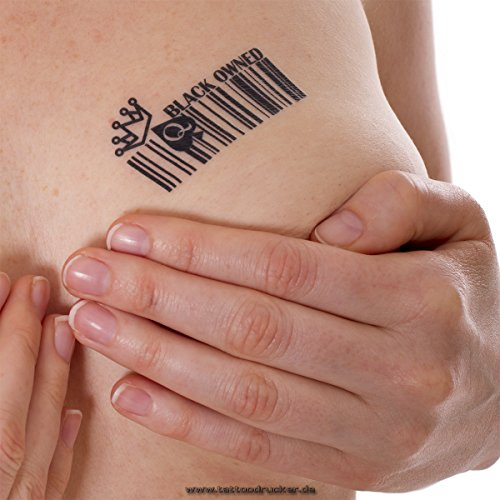 15 x Barcode BLACK OWNED Temporary Tattoos Fetish BBC Hotwife Queen of Spades (15)