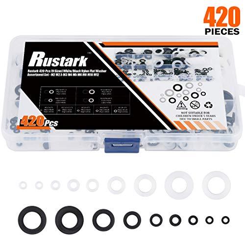 Rustark 420-Pcs [9 Sizes] White/Black Nylon Flat Washer Assortment Set - M2 M2.5 M3 M4 M5 M6 M8 M10 M12