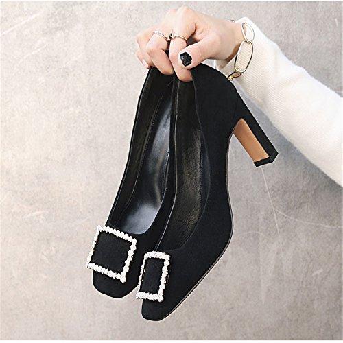 Square mit Einem Diamond mit Schuhe Quadratischen Schuhe Hohen Schnalle Absätzen XZGC Frühjahr vZUxff