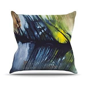 "Kess InHouse Steve Dix ""Gravity Falling"" Blue Paint Outdoor Throw Pillow, 16 by 16-Inch"