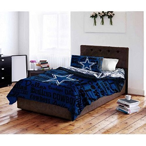 5 Piece NFL Dallas Cowboys Comforter Full Set, Sports Patterned Bedding, Featuring Team Logo, Fan Merchandise, Team Spirit, Football Themed, National Football League, Black, Blue, White by OS