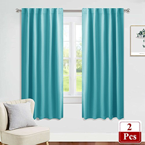 PONY DANCE Window Treatments Drapes - Blackout Curtains Home Decoration Back Tab/Rod Pocket Room Darkening Curtain Panels Privacy Protect Living Room, 42'' W x 72'' L, Turquoise, 1 Pair by PONY DANCE