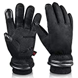 OZERO Winter Warm Gloves for Men Waterproof and Touch Screen Fingers Insulated Cotton Thermal in Cold Weather Black Small