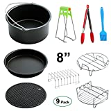 Big Large XL Air Fryer Accessories 8'', Set of 9, for Power Airfryer XL Gowise Phillips Cozyna, Fit all 5.3QT - 5.8QT