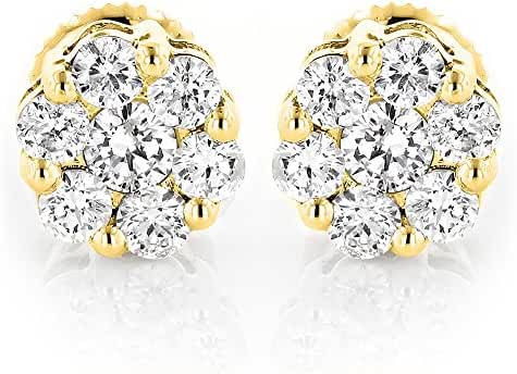 Luxurman Ladies 14k Gold Natural Diamond Clusters Earrings Studs For Her (1 Ctw,G-H Color)