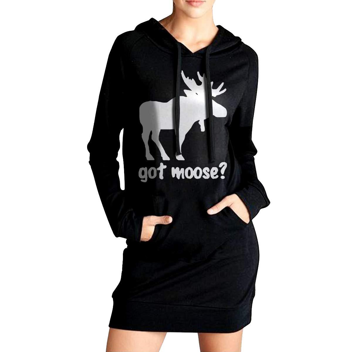 LL/&YGG Womens Long Hoodie Got Moose Womens Long Sleeve Sweater Coat